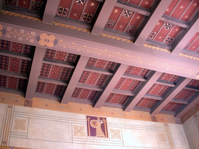 """Ceiling & wall fresco  in the """"Erotès"""" (Theodore Reinach's bedroom)"""
